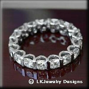 4 62 Ct Moissanite Cushion Forever One Ghi Eternity Wedding Band
