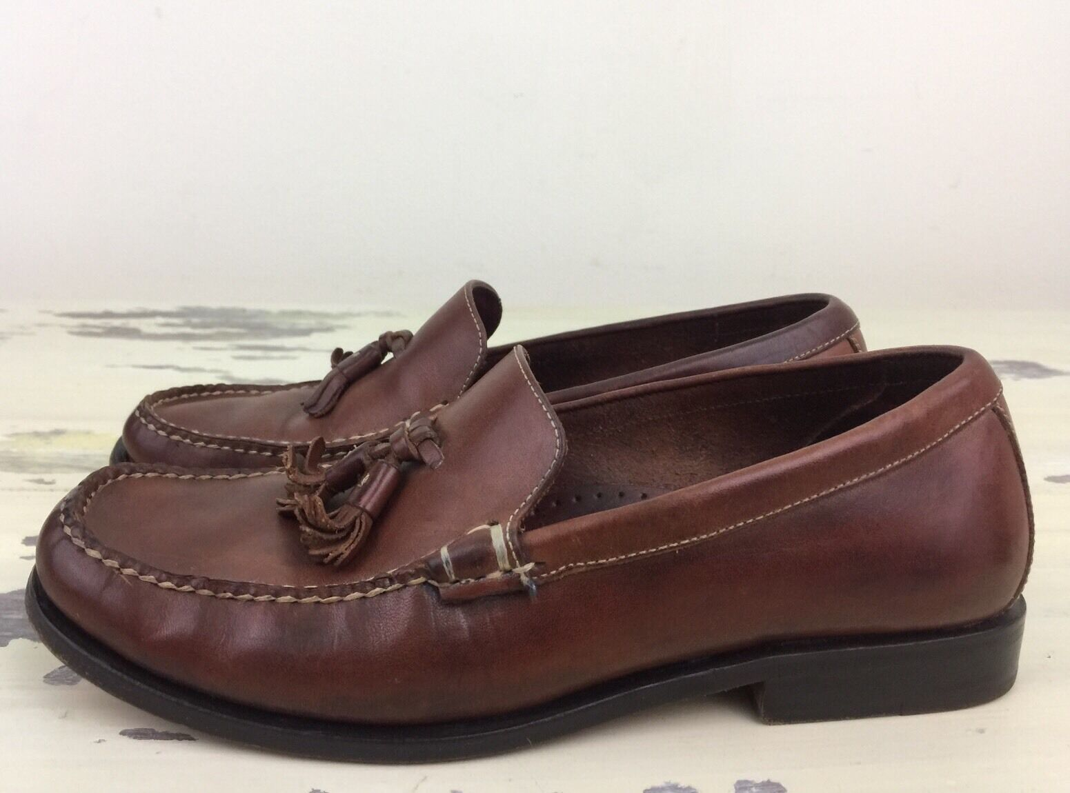 COLE HAAN COUNTRY - Womens Brown Leather Tassel Slip-on Loafer shoes, Sz 6 B