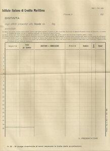 Istituto Italiano Di Credito Marino - Distinta Intonsa 1920 C.a Texture Nette