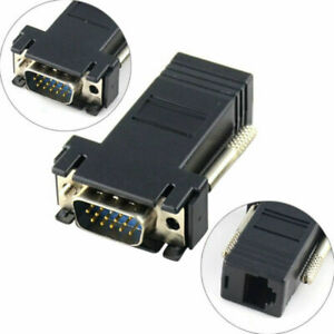 2x-ADATTATORE-CONVERTITORE-EXTENDER-DA-VGA-MASCHIO-A-LAN-VGA-TO-LAN-CAT5-5e-RJ45
