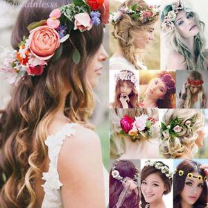 Image is loading Women-Beach-Wedding-Flower-Hair-Garland -CrownHeadband-Floral- 8438ccebd33