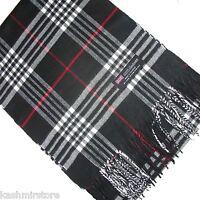 100% Cashmere Scarf White Black Red Scotland Warm Wool Check Plaid Wrap a1