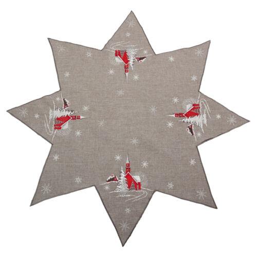 Rot Kirche Schnee Tanne Winter Stickerei Tischdecke Tischläufer Mitteldecke Grau