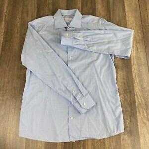 Eton-Blue-Check-Slim-Shirt-43-17-XL-Long-Sleeve-Button-GUC-Plaid