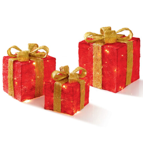 Set of 3 LED Light up Christmas Parcels Presents Battery Operated Red /& Gold