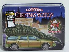 NEW National Lampoon's Christmas Vacation Red Mens S Boxers Woody Wagon Tree Tin