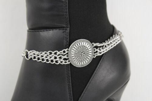 Women Fashion Boot Chain Bracelet Vintage Silver Metal Strap Shoe Ethnic Charm