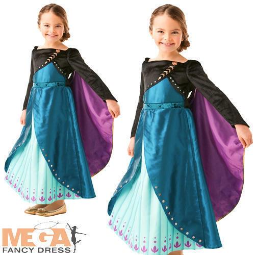 Queen Anna Premium Girls Fancy Dress Frozen 2 Fairy Tale Kids Book Day Costume