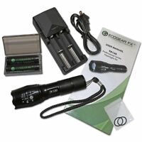 Tactical Led Flashlight Kit Zoom Function 5 Light Modes Rechargeable Batteries