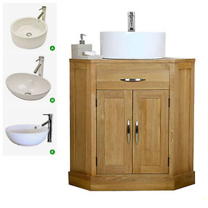 Corner Wash Basin With Cupboard : Solid Oak Corner Vanity Unit Wash Stand Cabinet Basin Sink Bathroom ...