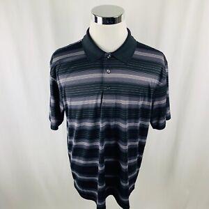 Ben-Hogan-Performance-Black-Gray-Striped-Golf-Polo-Shirt-Mens-XL-X-Large