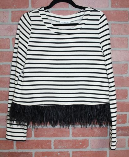 taglia media righe con piume corto e a maglione nero Sugar 79 Avorio Lips Zqy6fvA