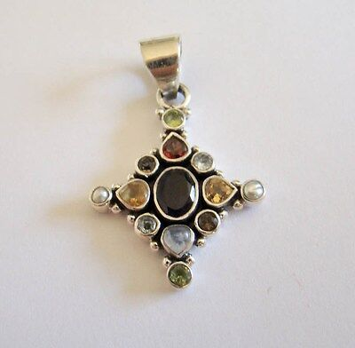 Sterling Silver Genuine Stones Pendant 925