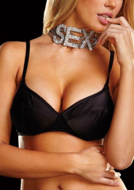 "Ann Devine All Rhinestone Bling Large ""SEX"" Choker Necklace Brand New"