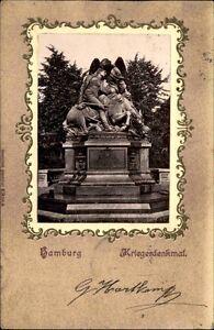 HAMBURG-1901-Praegung-Litho-AK-Krieger-Denkmal-Krieg-Praege-Karte-Ansichtskarte