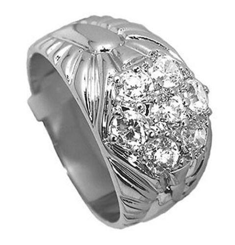 Mens 7 Simulated Diamond Stones Rhodium Plated Ring