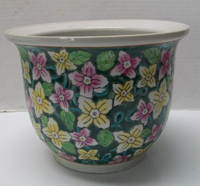 Planter Pink And Yellow Flowers New England Pottery Vintage Ebay