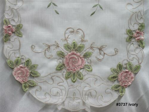 """Spring Embroidered Pink Rose Floral Sheer Table Runner 15x35/"""" oval New #3737W"""