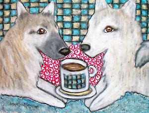 Norwegian-Buhund-Drinking-Coffee-Art-Print-8-x-10-Vintage-Style-Dog-Collectible
