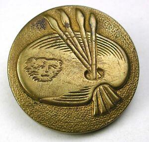 "Medium Antique Brass Button Kitty Cat Face on Artists Palette - 7/8"""