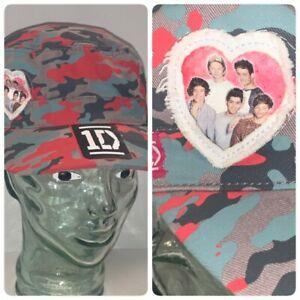 1D-One-Direction-Boy-Band-Music-Group-Red-Grey-Camo-Hat-2012-NEVER-WORN