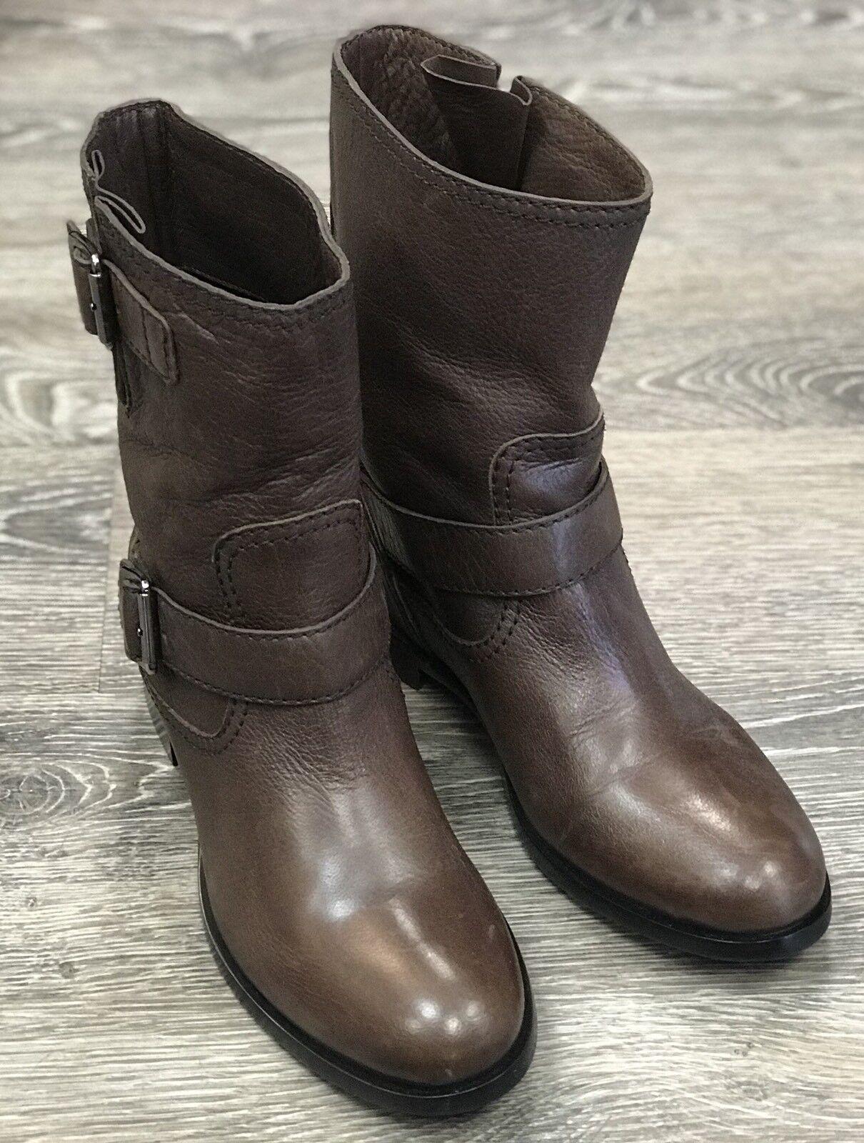 Prada Brown Biker Leather Boots Size