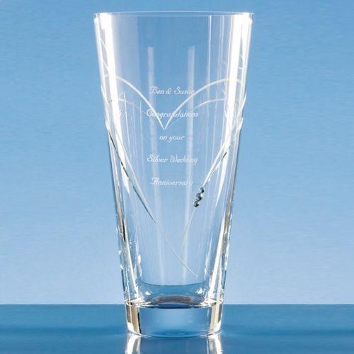 Personalised Engraved Large 25cm Heart Diamante Crystal Vase Wedding Anniversary