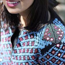 ZARA Ethnic Embroidered Beaded Mirror Bomber Jacket Blazer Large L Mirrored