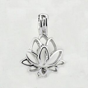 Tiny Lotus Flower Silver Hinged Open Bead Cage Pendant Or Charm 1pc