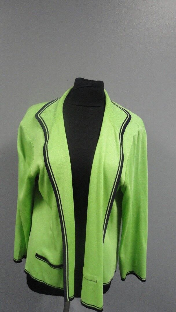 EXCLUSIVELY MISOOK PETITE Green bluee Acrylic Open Front Cardigan Size L GG0355