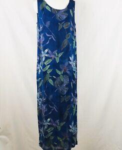 Chico-039-s-Design-Blue-Purple-Green-Floral-Rayon-Sleeveless-Dress-Medium