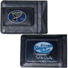 St Louis Blues Fine Leather Money Clip ID Card Cash Holder Wallet NHL Licensed