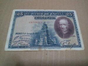 25 pesetas el banco de espana 1928 banknote fine