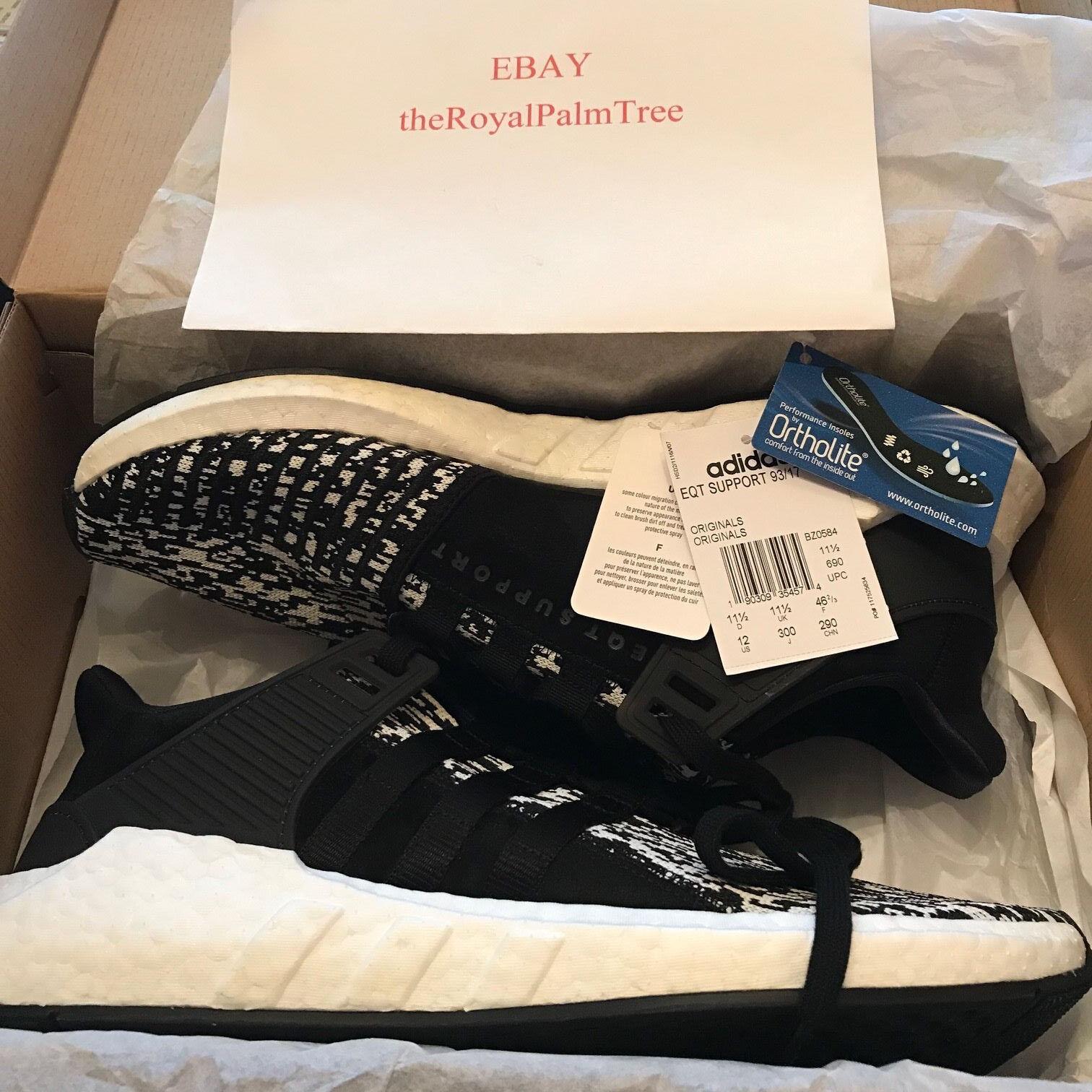 Adidas EQT SUPPORT 93/17 Glitch Core Black White US BZ0584 USED