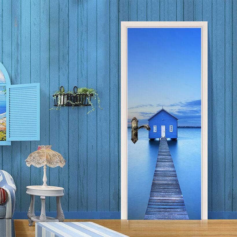 3D Blau Haus 755 Tür Wandmalerei Wandaufkleber Aufkleber AJ WALLPAPER DE Kyra  | Räumungsverkauf  | Hochwertige Produkte  | Deutschland München