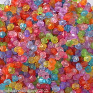 2000-Mix-Acryl-Doppelkegel-Perlen-Bicone-Rhomben-Facettiert-Beads-4x4mm