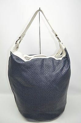 Gianni Notaro Italy Navy And White Trim Perforated Bucket Slouchy Hobo Bag
