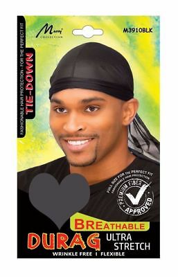 Black Breathable Adjustable Skull TIE DOWN SPORT DURAG The Best Seller #4769Blk