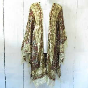 New-Angie-Kimono-S-Small-Olive-Green-Floral-Tie-Dye-Bleach-Boho-Peasant-Crochet