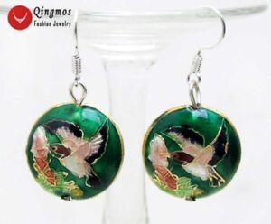 18mm-Round-Dark-Green-Cloisonne-Hummingbird-Beads-Dangle-Earrings-for-Women-651