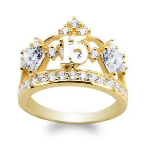 JamesJenny-Ladies-10K-14K-Yellow-Gold-15-Anos-Quinceanera-Crown-Ring-Size5-10