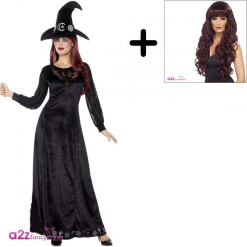 Deluxe Witch Craft Adult Ladies Womens Halloween Fancy Dress UK 8-18 Costume Wig
