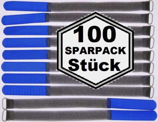 100 Klettband Kabelbinder Fk 30 Cm X 20 Mm Blau Klettbänder Kabelklett Metallöse