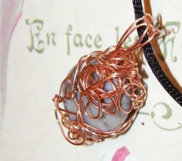 UNIQUE HAND CRAFTED COPPER-WIRE-WRAPPED PIETERSITE PENDANT  1-3/4 Inches