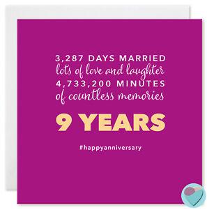 Anniversario Matrimonio 9 Anni.Carta Anniversario Di Matrimonio 9 Anni Nove 9th Marito Moglie