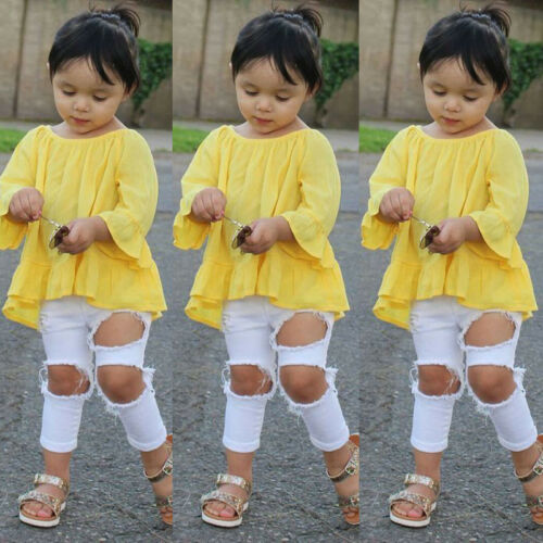 Fashion Baby Girls Tops T-shirt Hole Pants Leggings Outfit Set Clothes SFW