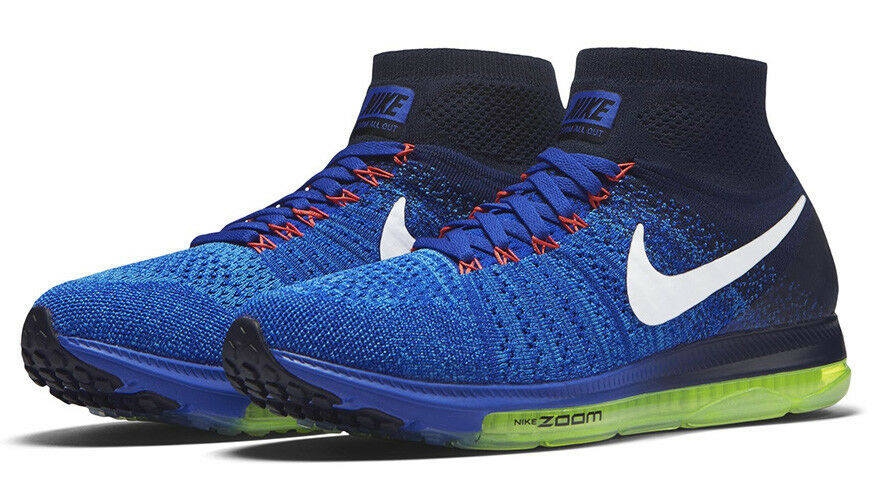 Nike Zoom All Out Flyknit  Women's Running Shoes Size US 8.5 M Blue Navy / White