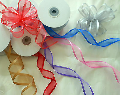 25 Yds Roll Satin Edge Organza Ribbon 10mm  Any Colour