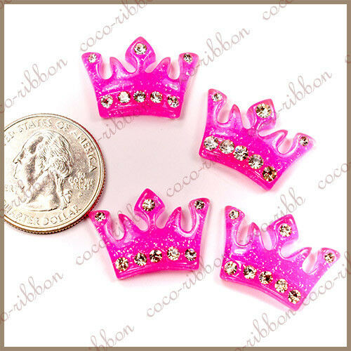 12pc 24mm Rhinestone Sparkle Glitter Princess Crown Flatback Resin Cabochons C07