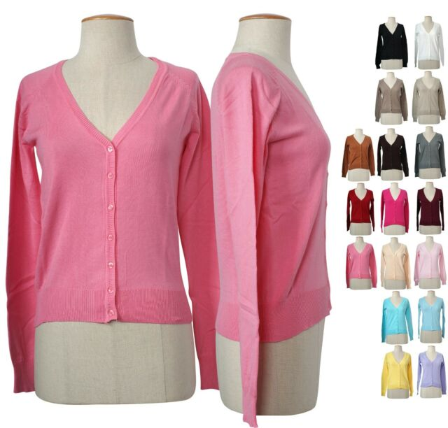 Solid Plain V Neck Button Down Open Front Cuff Cut Long Sleeve Light Cardigan